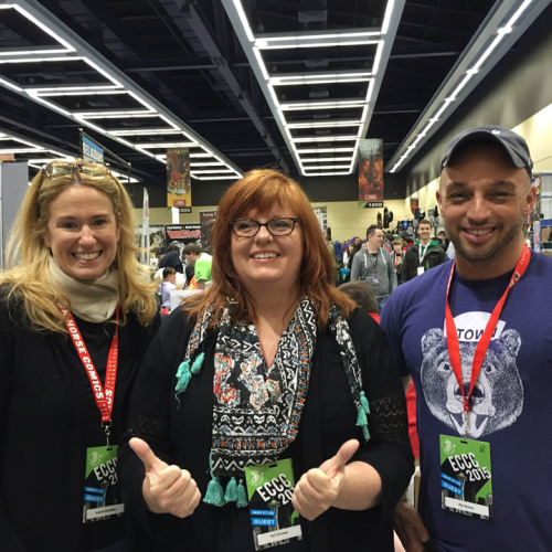 Susan with Gail Simone and Phil Jimenez at Emerald City ComiCon