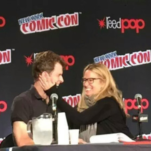 Susan and Kevin Conroy at the Justice League Reunion at New York Comic-Con 2015
