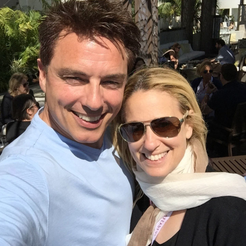 Susan with John Barrowman at San Diego Comic-Con