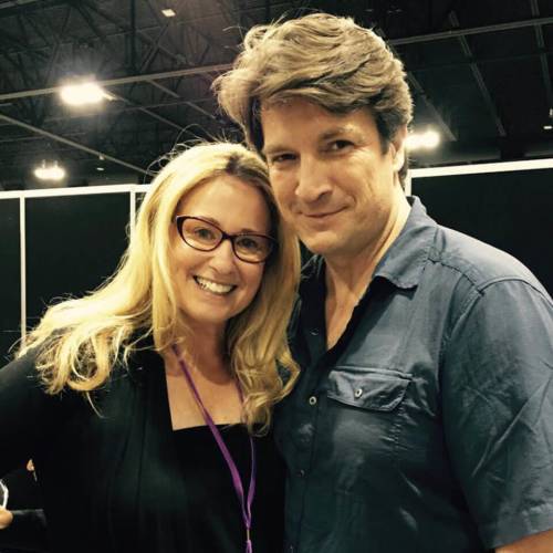 Susan Eisenberg with Nathan Fillion at Denver Comic Con 2017